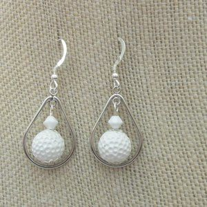 Choice White Golf Resin Earrings Sterling Wires